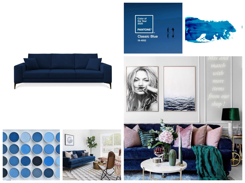 Pohovka vo farbe roka Classic Blue