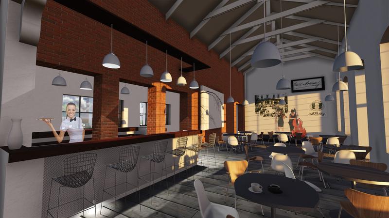 vizualizácia interiéru - návrh kaviarne v historickej budove destilácie