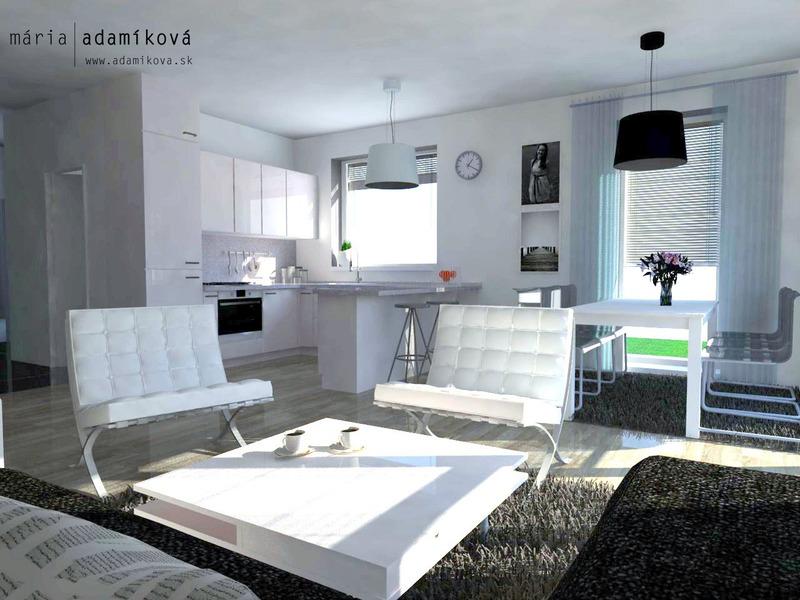 Minimalistický B&W interiér