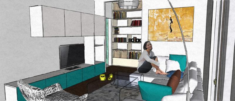 vizualizácia obývacej miestnosti