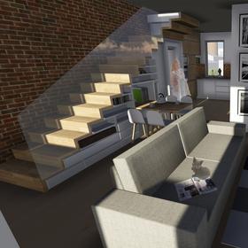 vizualizácia interiéru - návrh mezonetového bytu v bytovom dome