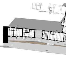 pôdorys - historická budova trestiarne a destilácie - v návrhu penzión, prenajímateľné prevádzky a kaviareň