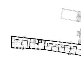 pôdorys - 2.NP historickej budovy - trestiarne - v návrhu penziónu
