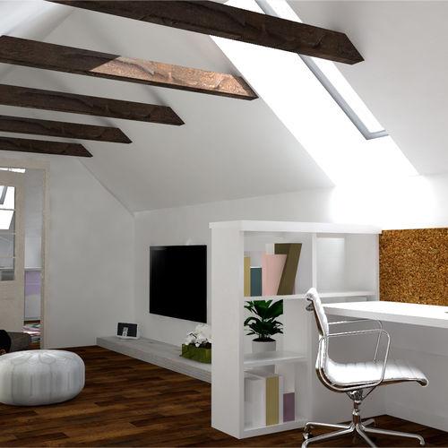 relaxačná a pracovná zóna na poschodí